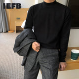 IEFB Korean half high neck sweater for men new autumn winter lightweight basic kintwear tops casual Pullover bottoming clothes