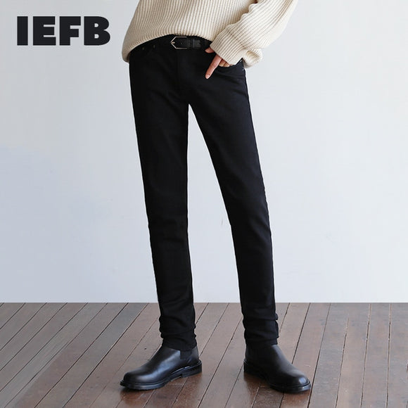 IEFB men's wear Korean Slim Fit black Jeans elastic casual trend Leggings spring winter denim pants streetwear trousers 9Y4259