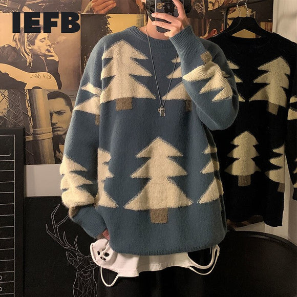 IEFB / men's wear loose big size pattern O-neck kintwear tops Korean fashion loose Pullover sweater autumn winter clothes 9Y4193