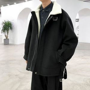 IEFB lambs wool cotton clothing men's fashion winter thickened cotton padded jacket loose korean oversize short coats 9Y4787