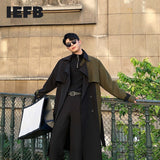 IEFB Men spring Winter color block patchwork mid length windbreaker with Sashes Loose Casual streetwear Long Trench Coat 9Y4346