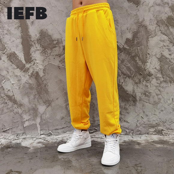 IEFB Men's New Basic Solid Color Elastic Wait Turnup Pants Hip Hop Fashion Loose Causal Sweatpants 2021 spring New Trousers 4869