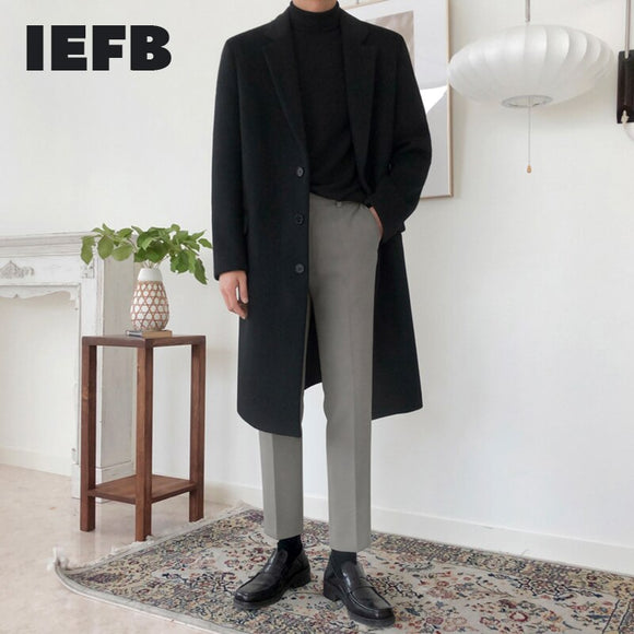 IEFB Korean trousers men's autumn winter slim suit pants straight casual trend ankle-length pants for male handsome new 9Y4488