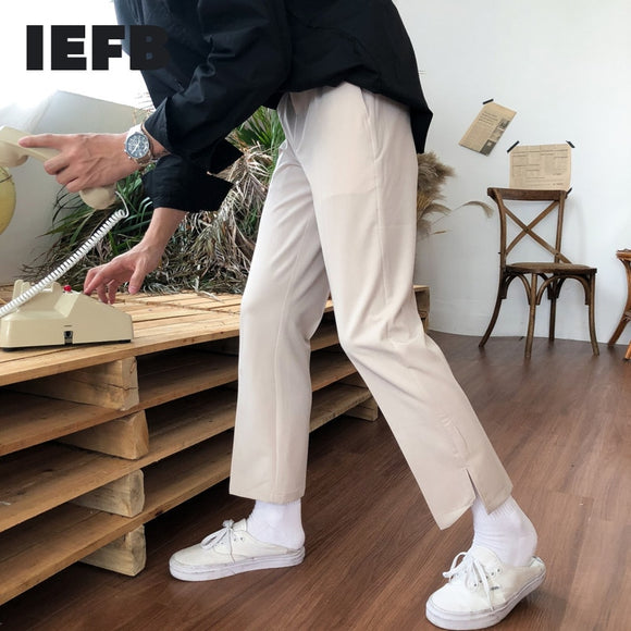 IEFB /men's wear Korean trendy 2021 spring  new suit pants for male irregular vent bottoms casual ankle-length pants Y1208
