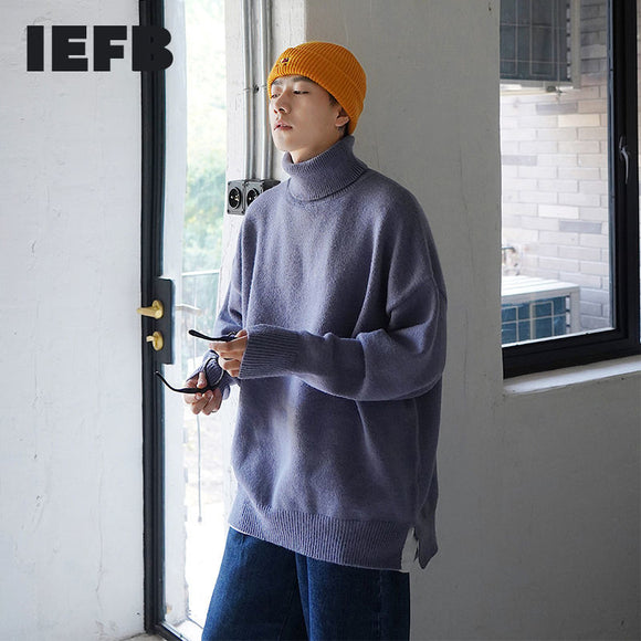 IEFB / 2020 autumn winter men's Korean loose solid color high collar sweater big size causal vintage vent hem kintted tops Y4200