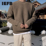 IEFB Korean vintage fashion sweater men's autumn winter thickened loose round collar trend Pullover kintwear casual tops 9Y4565