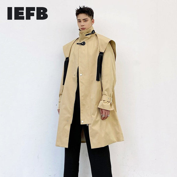 IEFB men's windbreaker mid length Korean fashion handsome standing collar zipper oversize trench coat spring new clothing 9Y4413