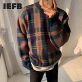 IEFB Men's Thickened Plaid Color Block Pattern Kint Sweater Korean Fashion Loose Veintage Kintwear Pullover Tops For Male 9Y3242