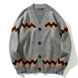 IEFB / Jacquard Weave Stripe V collar Sweater for Men And Women Lovers 2020 autumn  new Single Breasted Cardigan cloth 19H-a124