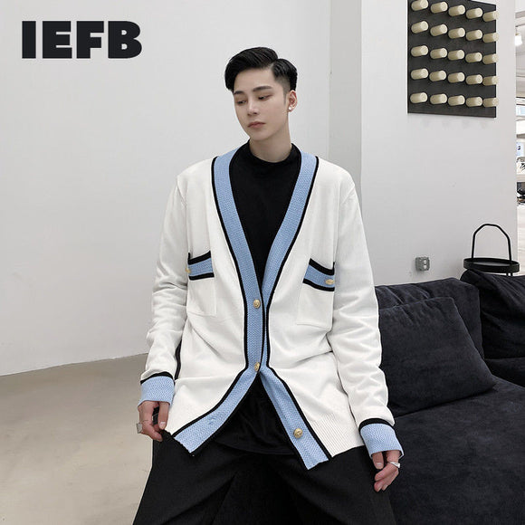 IEFB Men's Wear Korean Style Contrast Color Cardigan Sweater Coat 2021 Spring Fashionable Kintted Tops Male 9Y4009