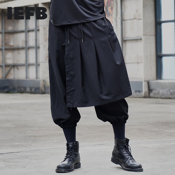 IEFB /men's wear 2021 streetear False Two Pieces Irregular black Pantskirt Asymmetry Ankle Banded Pants ankle-length Pants Y1457