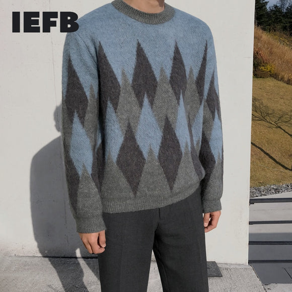 IEFB autumn and winter thickened Plaid crew neck sweater for men's loose warm knitted tops vintage kintwear clothes new 9Y4567