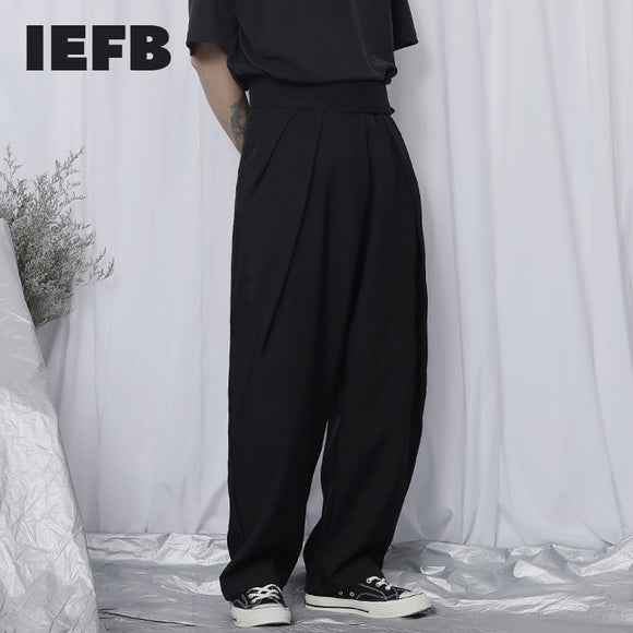 IEFB /men's wear Casual pants long dady pants 2021 spring new design high waist loose wide leg pants for male streetwear 9Y2534
