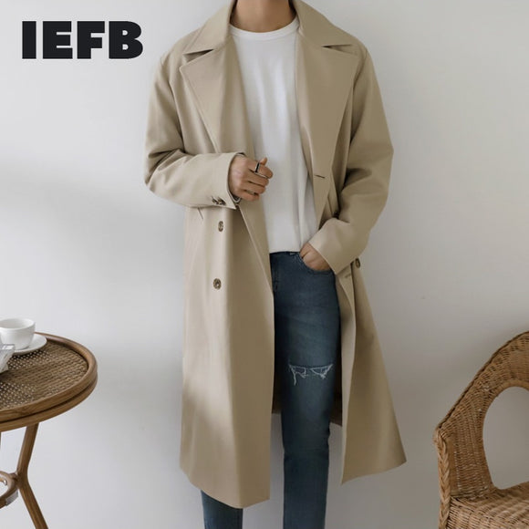 IEFB /men's wear mid-length trench coat thin style Korean trendy handsome coat spring knee-high trench coat windbreaker 9Y3727