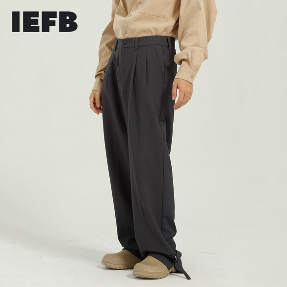 IEFB Men's Fashionable Spring New Gray Suit Pants All-match Loose Button Bottom Black Trousers Straight Wide Leg Pants 9Y5073