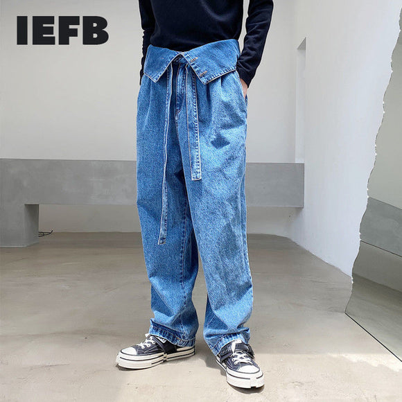 IEFB /men's wear Korean folded high-waisted design blue jeans niche wide-leg denim trousers for male 2021 trendy new pants Y3390