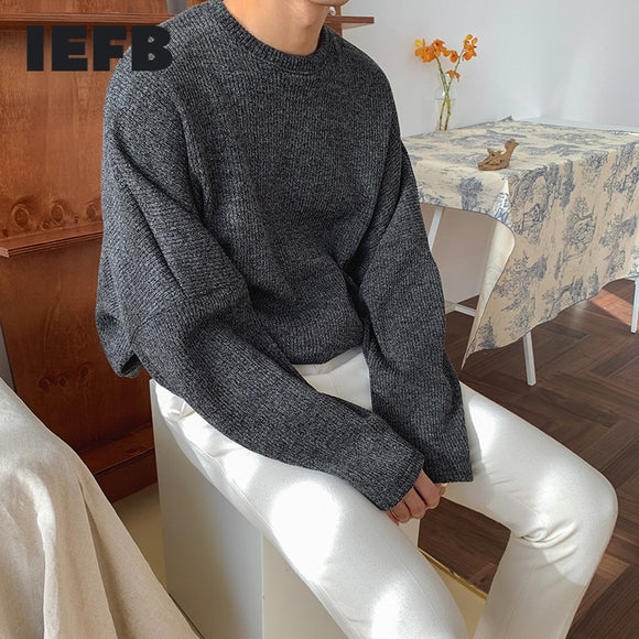 IEFB autumn winter Crew Neck Sweater men's loose warm kintwear tops Korean fashion Pullover bottoming clothes for male 9Y4570