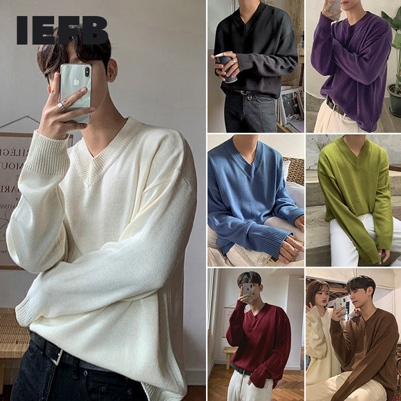 IEFB men's V-Neck Sweater Korean fashion loose long sleeve solid color bottoming kintted sweaters autumn witner basic kintwear