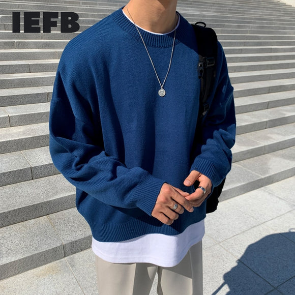 IEFB men's solid color sweater autumn new Korean style loose round collar knitted long sleeve base tops male trend clothes Y4239