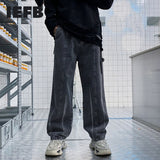 IEFB Men's Gray Denim Pants 2021 Spring New Streetwear Straight Jeans Striped Print Bottoms Ins Trend Casual Wide Leg Dad Pants