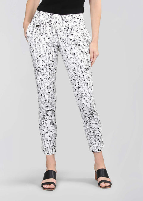 Prairie Flower Print 28'' Ankle Pant With Pockets