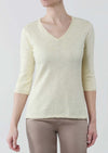"Yolanda Knit 25"" Sweater W/ ""V"" Neck & 3/4 Sleeves"
