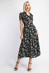 collared button front midi dress