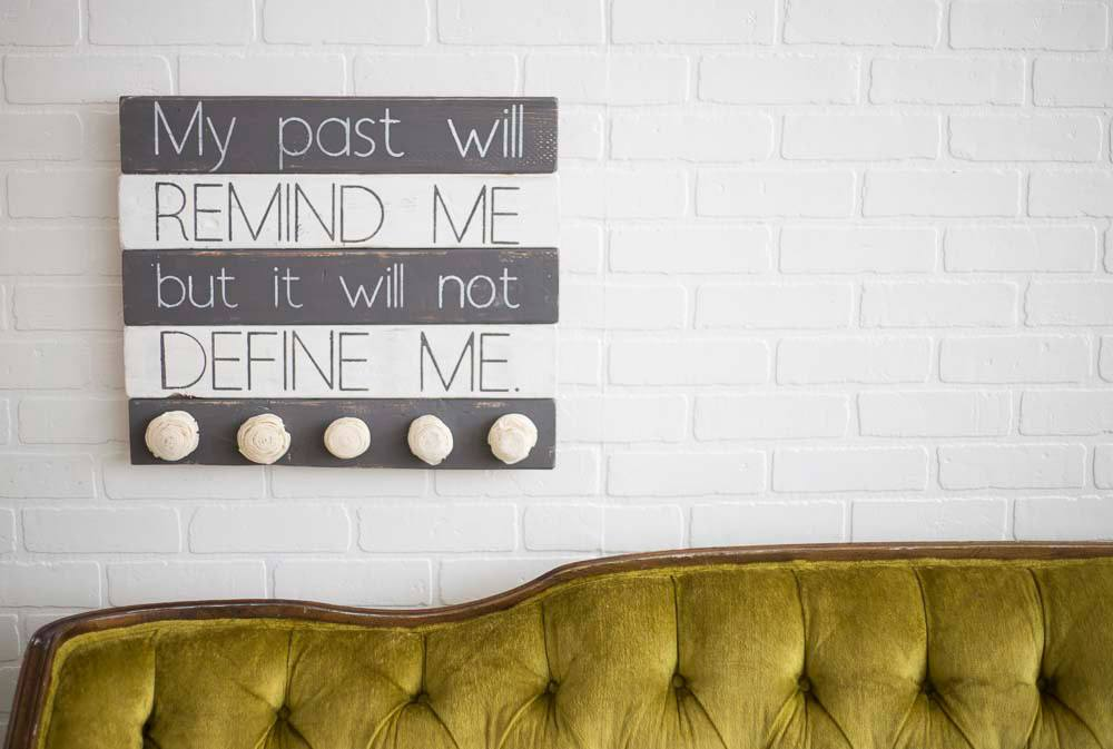 It Will Not Define Me - Pallet Wood Sign - Eco Flower - faux flowers - gift - wedding flowers