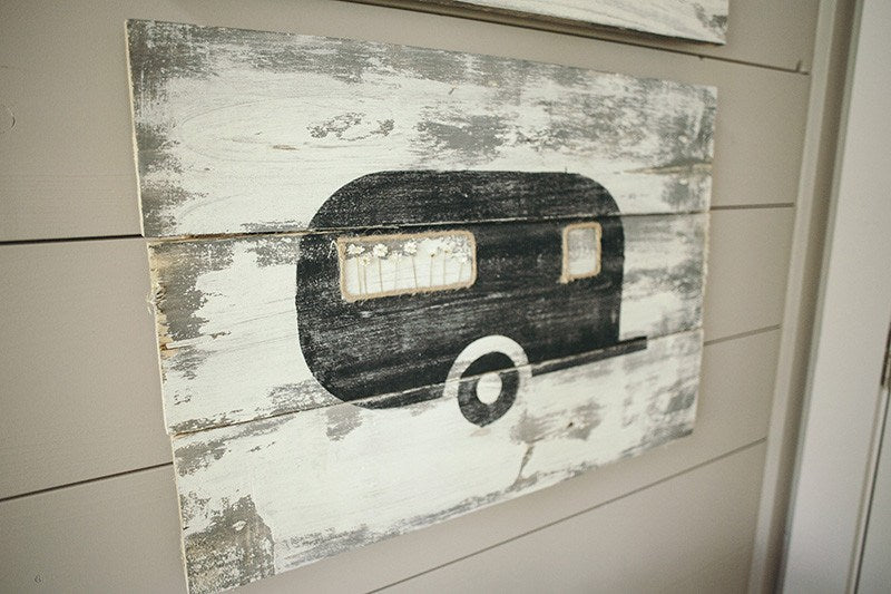 Airstream Wood Sign - Eco Flower - faux flowers - gift - wedding flowers