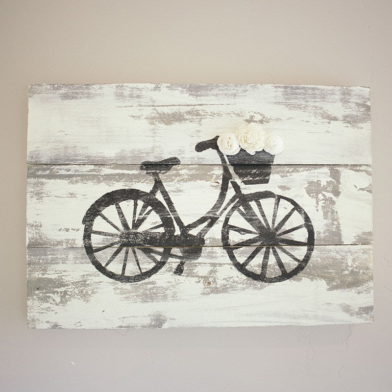 Bicycle Wood Sign - Eco Flower - faux flowers - gift - wedding flowers