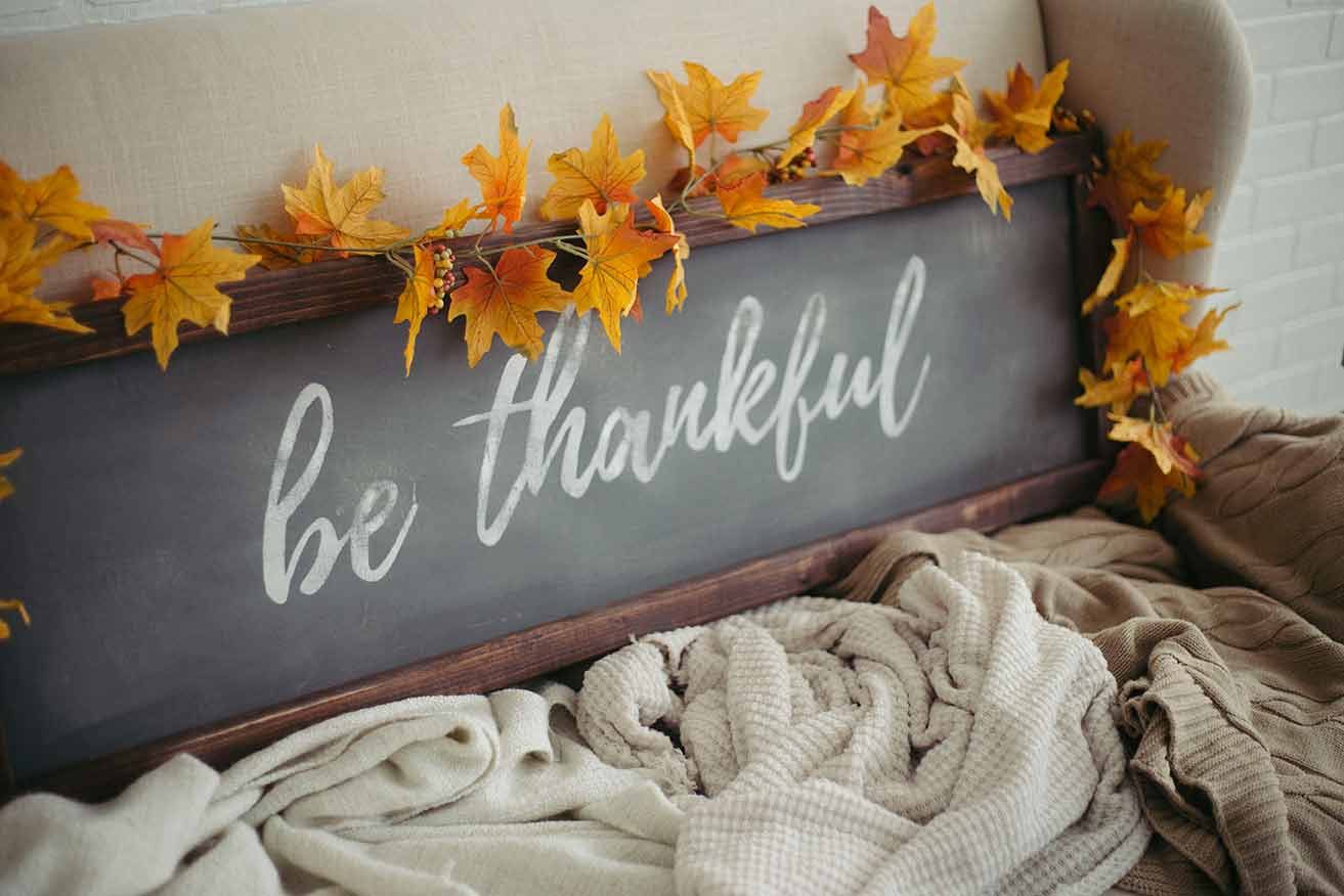 """Be Thankful"" Framed Wood Sign"