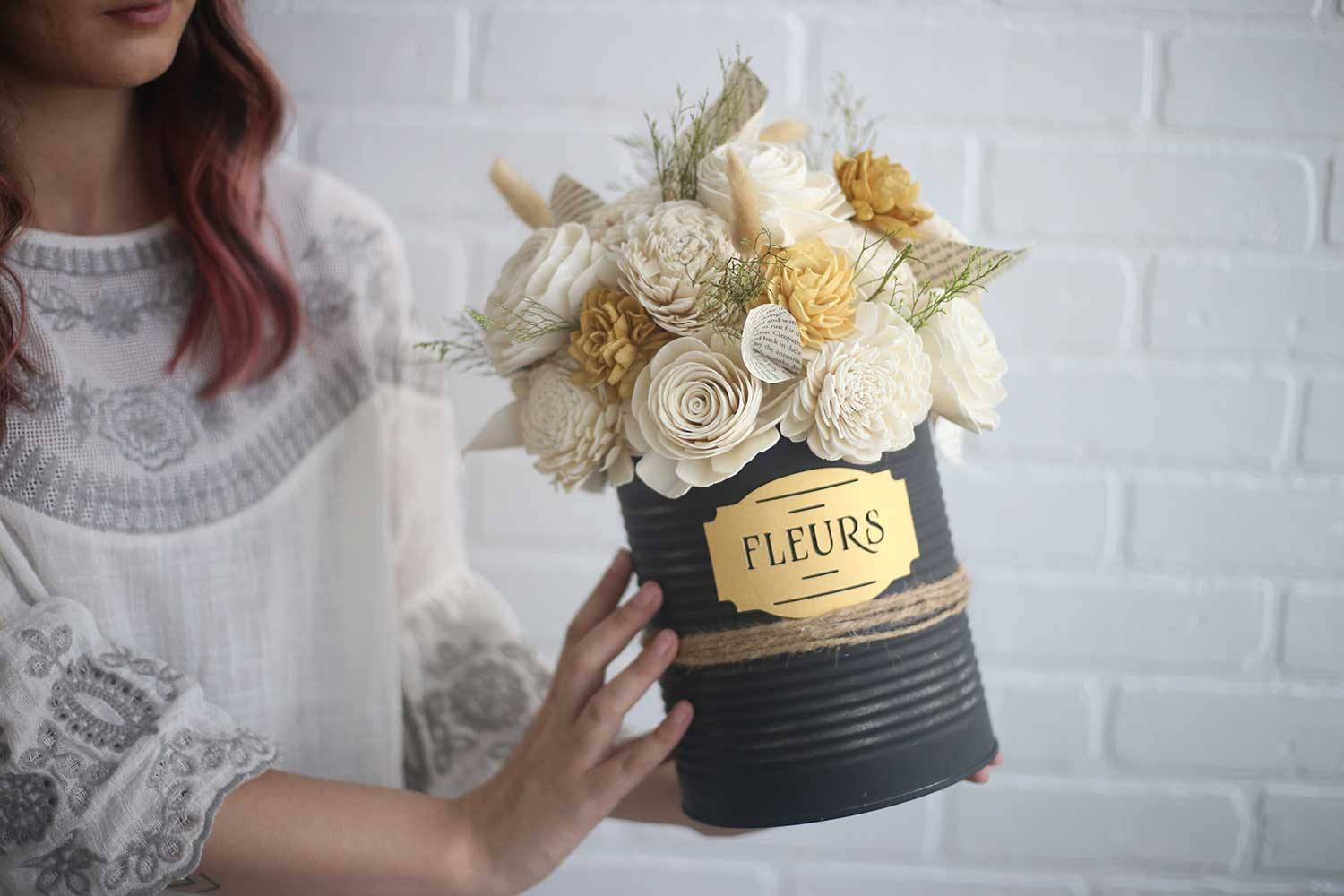 French Countryside Tin Can - Eco Flower - faux flowers - gift - wedding flowers