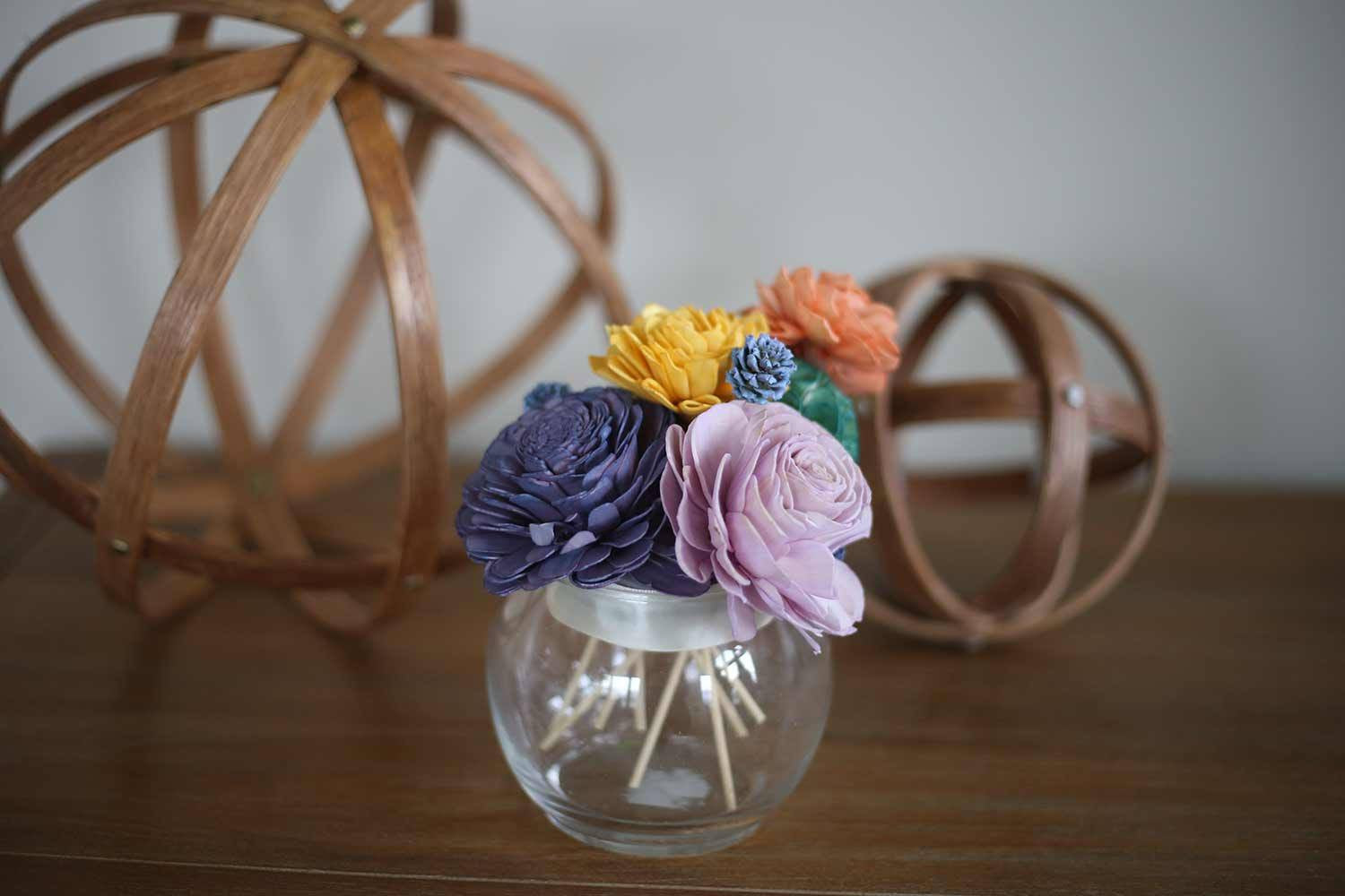 Abstract Glass Terrarium - Eco Flower - faux flowers - gift - wedding flowers