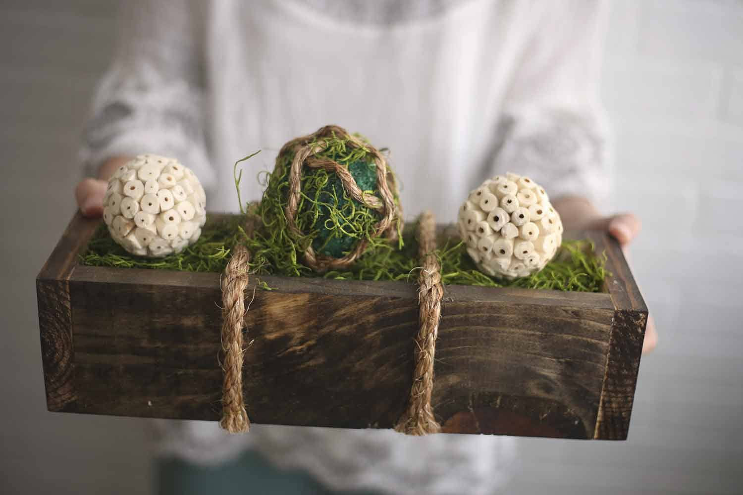 Kokedama Moss Box - Eco Flower - faux flowers - gift - wedding flowers