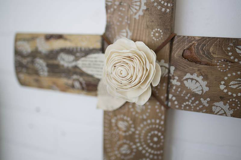 Boho Chic Cross - Eco Flower - faux flowers - gift - wedding flowers