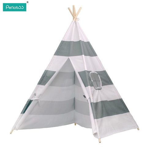 Pericross Kids Teepee Tent Indian Play Tent Children's Teepee Tent (Grey Stripes)