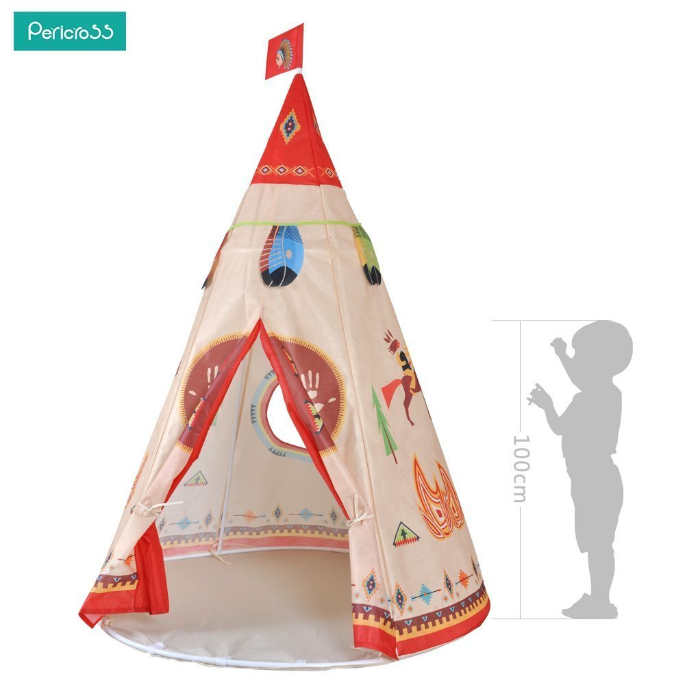 Pericross Children Teepee Kids Play Tent Indian Tent for Kid Indoor Play Ground Play House Tents Kid Outdoor Garden Tent (Brown)