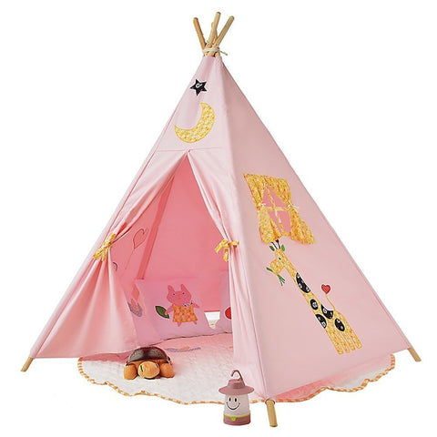 Pericross Kids Teepee Tent Indian Play Tent Children's Playhouse for Outdoor and Indoor Play (Pink 4 sides with Animals)