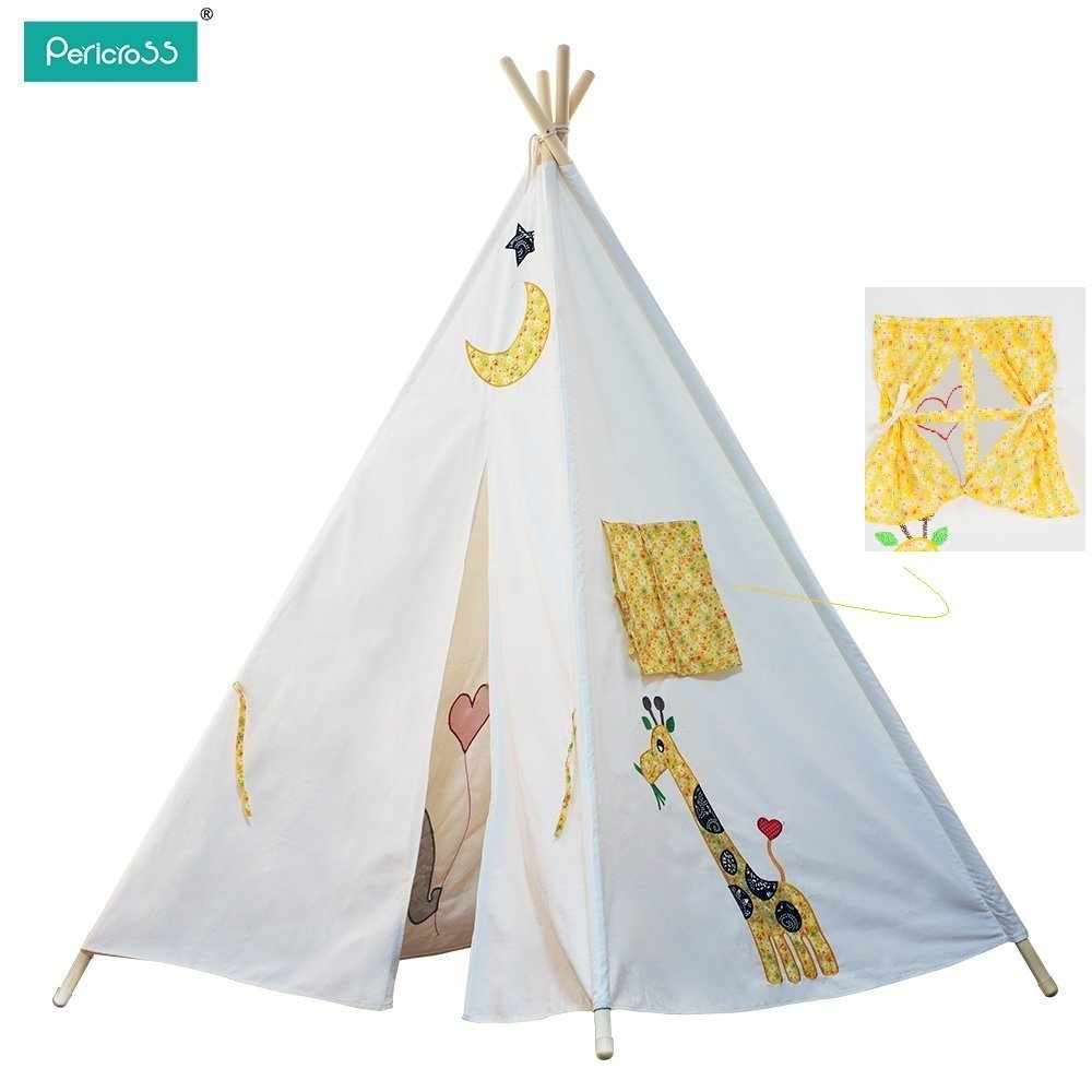 Pericross 4 Panel White rTeepee Play Tent with Giraff Pattens