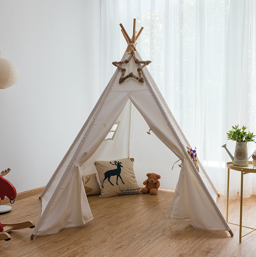 Pericross 6 Foot 5 Panel Cotton Canvas Teepee Play Tent & Pericross 6 Foot 5 Panel Cotton Canvas Teepee Play Tent - www ...