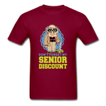 Senior Discount T-Shirt for Men - burgundy