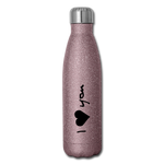 Insulated Stainless Steel Water Bottle (I Love You) - pink glitter