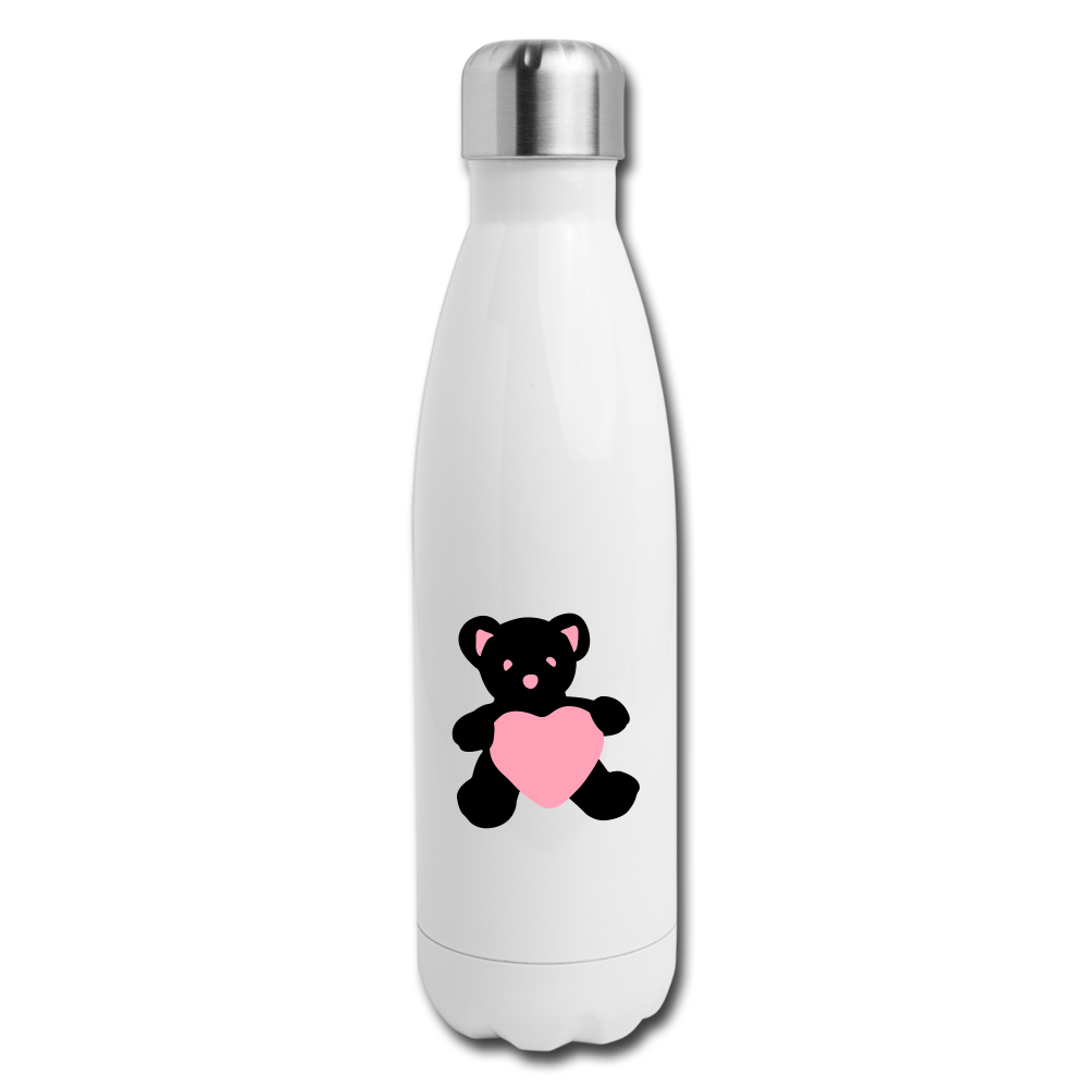Insulated Stainless Steel Water Bottle - Teddy Heart - white