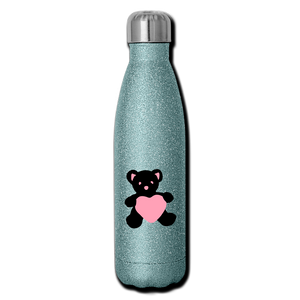 Insulated Stainless Steel Water Bottle - Teddy Heart - turquoise glitter