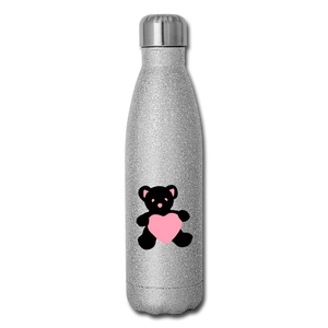 Insulated Stainless Steel Water Bottle - Teddy Heart - silver glitter
