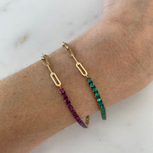 Load image into Gallery viewer, Tennis & Paperclip Chain Bracelet