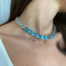Load image into Gallery viewer, Ombrè Blue Topaz & Diamond Bib Necklace