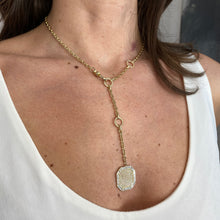 Load image into Gallery viewer, Lariat Octagonal Disc Necklace