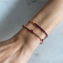 Load image into Gallery viewer, Diamond Ruby Heart Bracelet