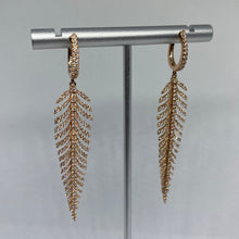Load image into Gallery viewer, Diamond Feather Earrings
